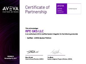Сертификат партнерства AVEVA